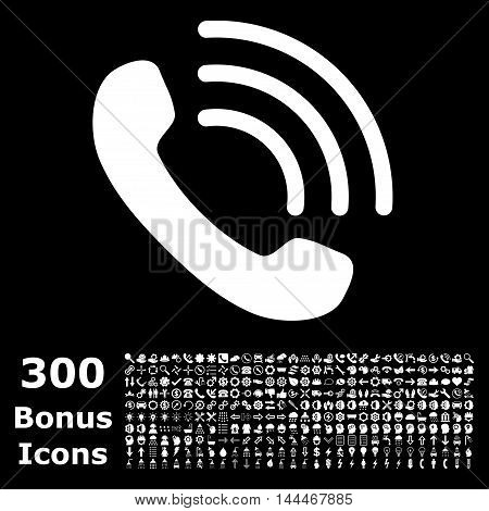 Phone Call icon with 300 bonus icons. Vector illustration style is flat iconic symbols, white color, black background.