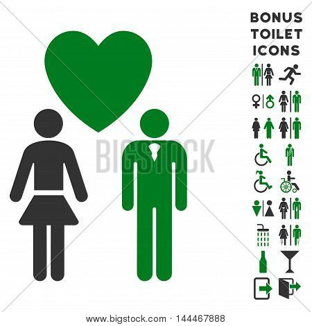 Love Persons icon and bonus man and female WC symbols. Vector illustration style is flat iconic bicolor symbols, green and gray colors, white background.
