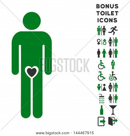 Lover Guy icon and bonus male and lady toilet symbols. Vector illustration style is flat iconic bicolor symbols, green and gray colors, white background.