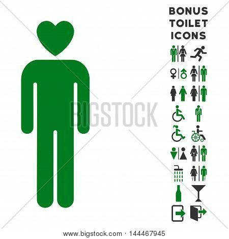 Lover Man icon and bonus gentleman and lady toilet symbols. Vector illustration style is flat iconic bicolor symbols, green and gray colors, white background.