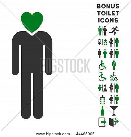 Lover Man icon and bonus gentleman and lady lavatory symbols. Vector illustration style is flat iconic bicolor symbols, green and gray colors, white background.