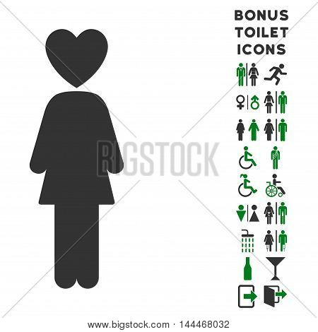 Lover Woman icon and bonus gentleman and female toilet symbols. Vector illustration style is flat iconic bicolor symbols, green and gray colors, white background.