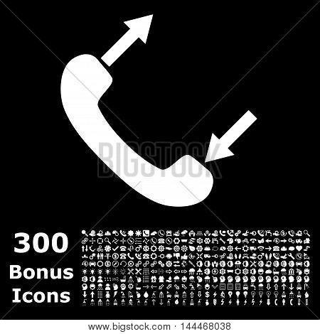 Phone Talking icon with 300 bonus icons. Vector illustration style is flat iconic symbols, white color, black background.