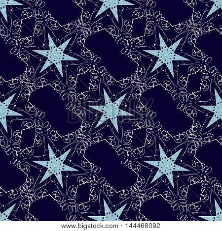 Vector stars seamless pattern. Dark blue background.