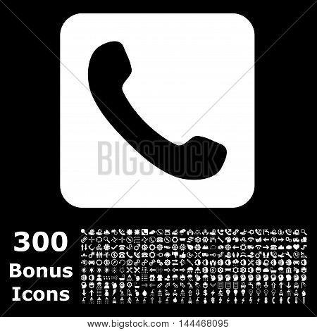 Phone icon with 300 bonus icons. Vector illustration style is flat iconic symbols, white color, black background.