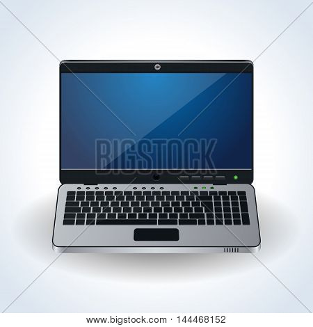Modern laptop realistic vector icon on white