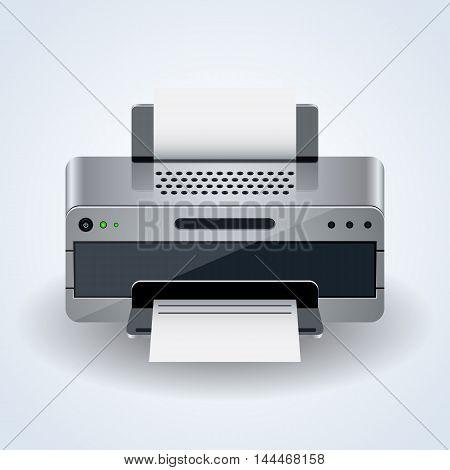 Modern desktop printer realistic 3d vector icon
