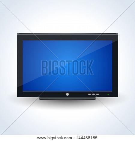 Modern wide TV set, computer desktop monitor vector icon