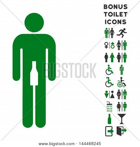 Man icon and bonus gentleman and female toilet symbols. Vector illustration style is flat iconic bicolor symbols, green and gray colors, white background.