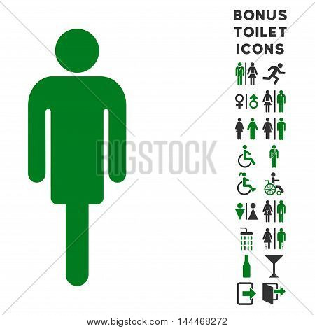 Man icon and bonus gentleman and woman WC symbols. Vector illustration style is flat iconic bicolor symbols, green and gray colors, white background.