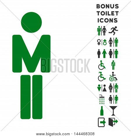 Man icon and bonus male and female WC symbols. Vector illustration style is flat iconic bicolor symbols, green and gray colors, white background.