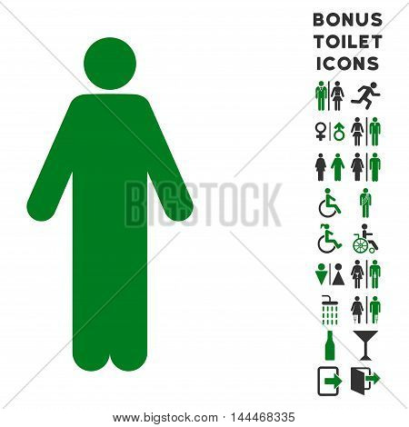 Man icon and bonus male and woman toilet symbols. Vector illustration style is flat iconic bicolor symbols, green and gray colors, white background.
