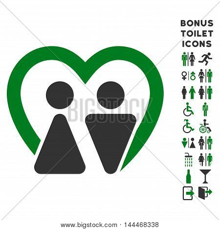 Marriage icon and bonus male and female restroom symbols. Vector illustration style is flat iconic bicolor symbols, green and gray colors, white background.