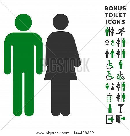 Married Couple icon and bonus male and woman toilet symbols. Vector illustration style is flat iconic bicolor symbols, green and gray colors, white background.