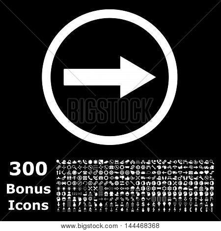 Right Rounded Arrow icon with 300 bonus icons. Vector illustration style is flat iconic symbols, white color, black background.