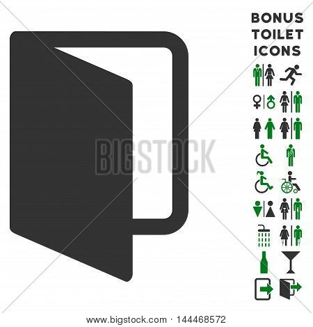 Open Door icon and bonus male and lady WC symbols. Vector illustration style is flat iconic bicolor symbols, green and gray colors, white background.
