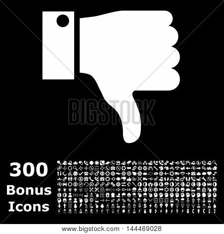 Thumb Down icon with 300 bonus icons. Vector illustration style is flat iconic symbols, white color, black background.