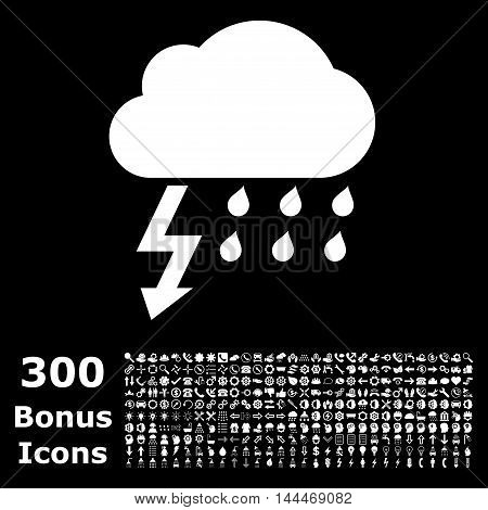 Thunderstorm icon with 300 bonus icons. Vector illustration style is flat iconic symbols, white color, black background.