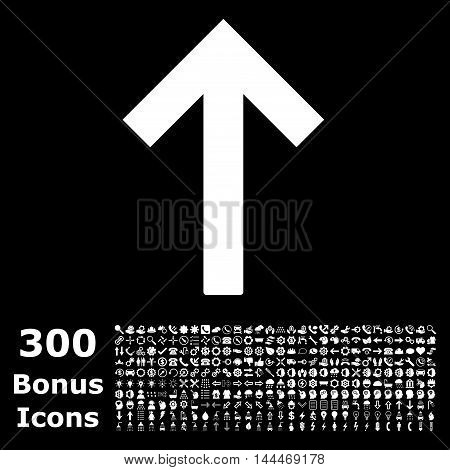 Up Arrow icon with 300 bonus icons. Vector illustration style is flat iconic symbols, white color, black background.