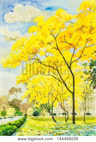 watercolor painting golden tree flowers in sky and cloud background
