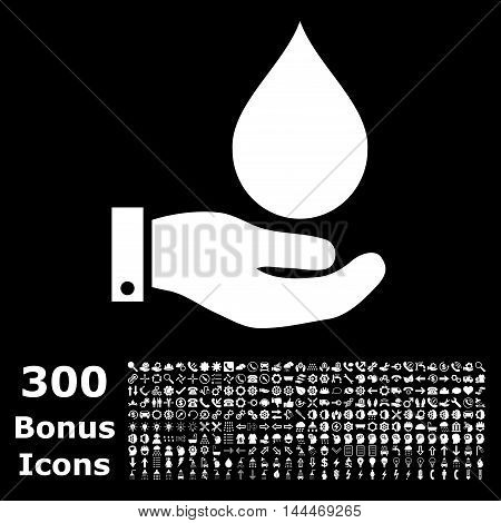 Water Service icon with 300 bonus icons. Vector illustration style is flat iconic symbols, white color, black background.