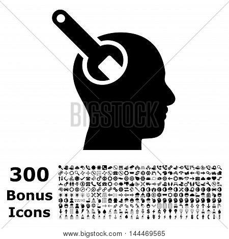 Brain Tool icon with 300 bonus icons. Vector illustration style is flat iconic symbols, black color, white background.