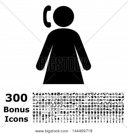 Calling Woman icon with 300 bonus icons. Vector illustration style is flat iconic symbols, black color, white background.