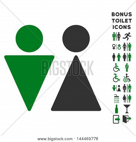 WC Persons icon and bonus male and lady toilet symbols. Vector illustration style is flat iconic bicolor symbols, green and gray colors, white background.