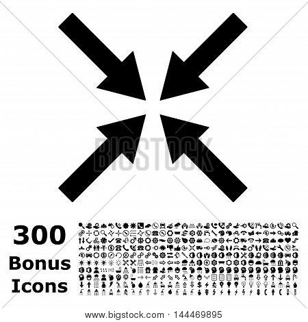 Center Arrows icon with 300 bonus icons. Vector illustration style is flat iconic symbols, black color, white background.