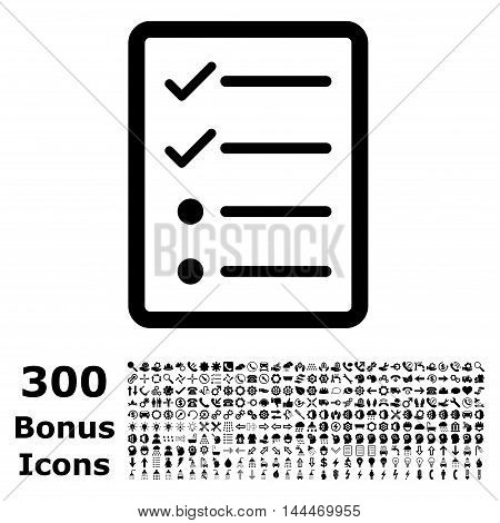 Checklist Page icon with 300 bonus icons. Vector illustration style is flat iconic symbols, black color, white background.