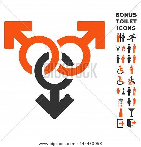 Group Gay Sex icon and bonus male and lady lavatory symbols. Vector illustration style is flat iconic bicolor symbols, orange and gray colors, white background.