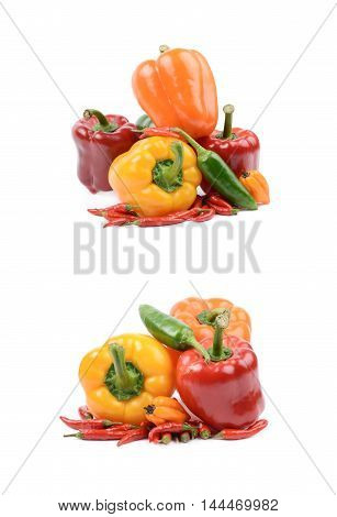 Pile of bright and colorful ripe peppers isolated over the white background, set of two different foreshortenings