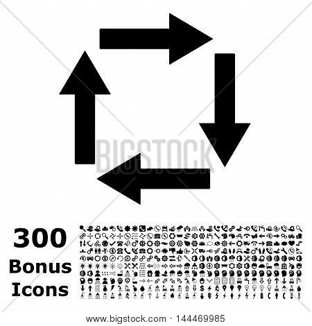 Circulation Arrows icon with 300 bonus icons. Vector illustration style is flat iconic symbols, black color, white background.
