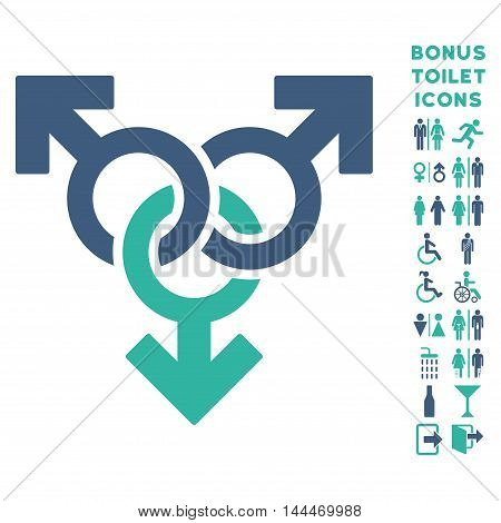 Group Gay Sex icon and bonus man and woman restroom symbols. Vector illustration style is flat iconic bicolor symbols, cobalt and cyan colors, white background.