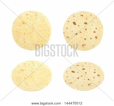 Flour tortilla flatbread isolated over the white background, set of four different foreshortenings