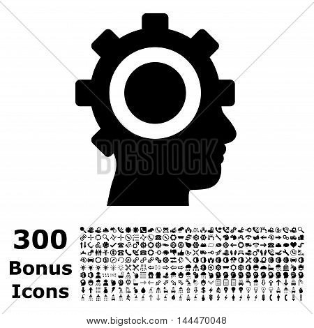 Cyborg Gear icon with 300 bonus icons. Vector illustration style is flat iconic symbols, black color, white background.