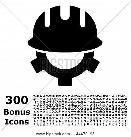 Development Helmet icon with 300 bonus icons. Vector illustration style is flat iconic symbols, black color, white background.