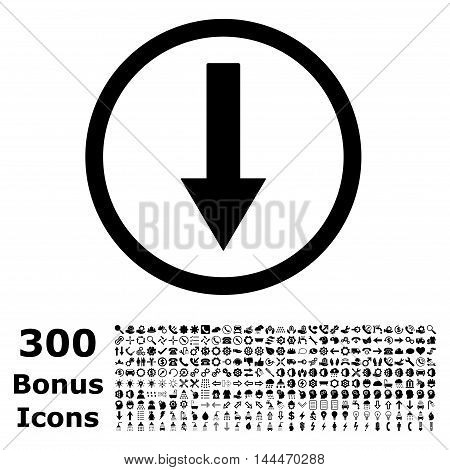 Down Rounded Arrow icon with 300 bonus icons. Vector illustration style is flat iconic symbols, black color, white background.