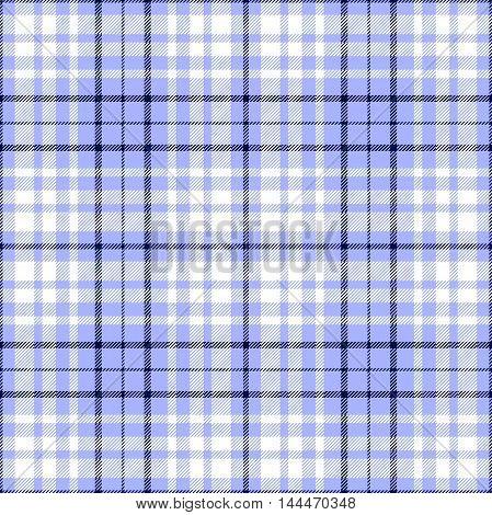 Seamless tartan plaid pattern in white & dark navy blue stripes on light blue background.