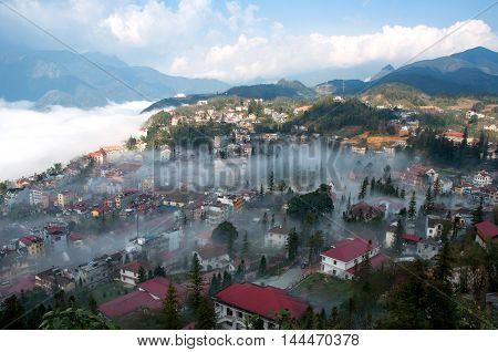 SAPA, VIETNAM july 14, 2016 the town of Sa Pa, Vietnam, morning fog