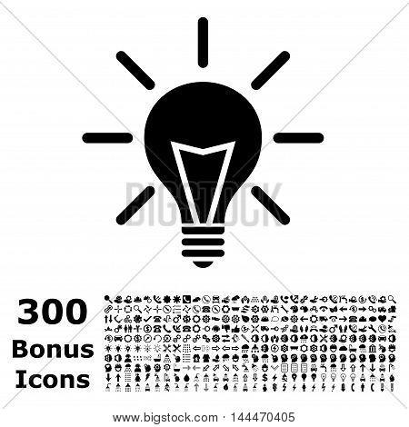 Electric Light icon with 300 bonus icons. Vector illustration style is flat iconic symbols, black color, white background.