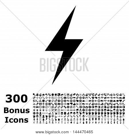 Electricity icon with 300 bonus icons. Vector illustration style is flat iconic symbols, black color, white background.
