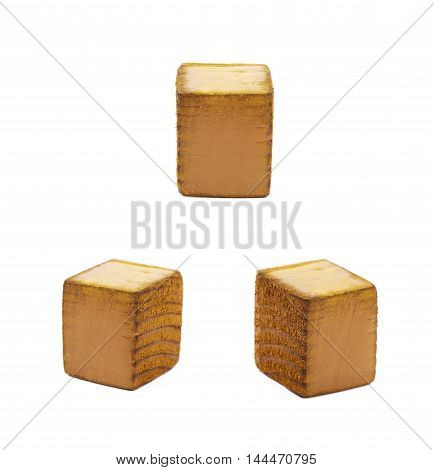 Dot point symbol sawn of wood and paint coated, set of three different foreshortenings