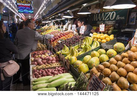 SEATTLE USA - JUNE 11 2016: The PIke Place Market is home to many sellers of high quality fresh fruits and vegetables and a popular destination for tourists.