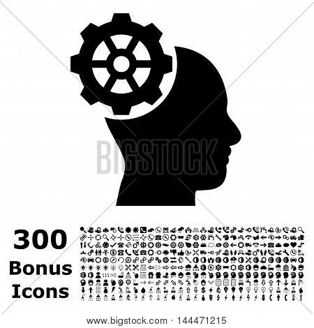 Head Gear icon with 300 bonus icons. Vector illustration style is flat iconic symbols, black color, white background.
