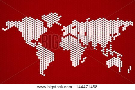 Abstract world map of hexagons. Vector illustration. Eps 10