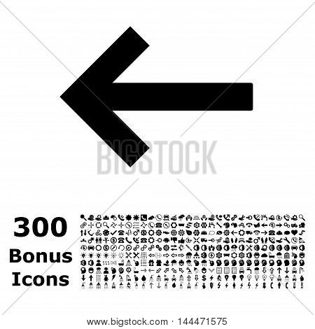 Left Arrow icon with 300 bonus icons. Vector illustration style is flat iconic symbols, black color, white background.