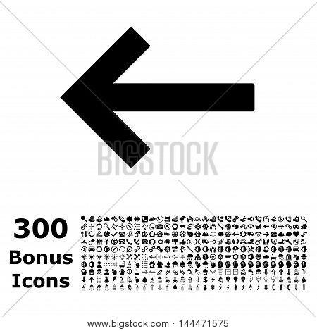 Left Arrow icon with 300 bonus icons. Vector illustration style is flat iconic symbols, black color, white background.