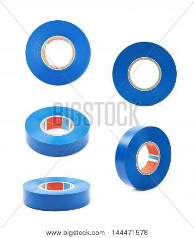 Blue insulating tape isolated over the white background, set of five different foreshortenings