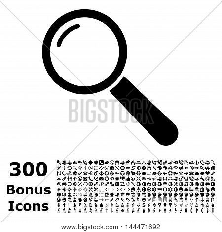 Magnifier icon with 300 bonus icons. Vector illustration style is flat iconic symbols, black color, white background.